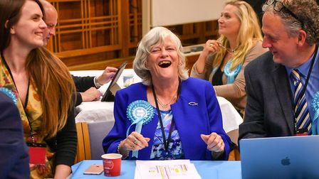 Brexit Party's Anne Widdecombe (centre) laughs as results come in. Picture: Ben Birchall/PA Wire