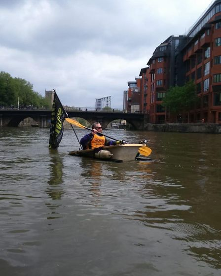 Rob Lawrence and Justin Badman raised more than £1,300 for Scotty's Little Soldiers by paddling down