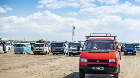 thousands of Volkswagen campervans headed to Brean for the annual VanWest festival Picture: VanWest