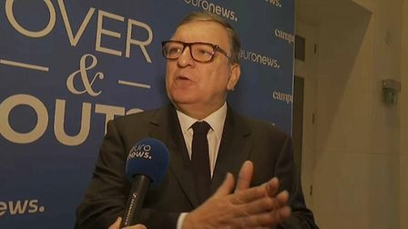 Former president of the European Commission José Manuel Barroso speaking at Euronews' Over & Out eve