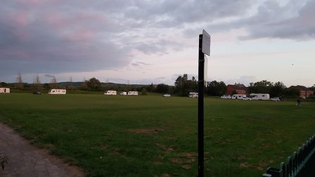 Travellers at Herons Moor Acacemy's playing field last night (Wednesday). Picture: Herons Moor Acade