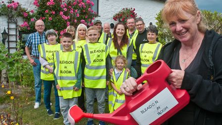 Kirsten Hemingway and members of Bleadon In Bloom who have entered the Britain In Bloom competition