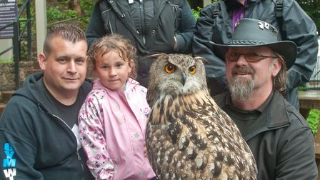 Visitors learning about birds of prey with Darren Jenkins from Avon Owls. Picture: MARK ATHERTON