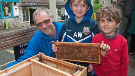 Richard Tiley from Burnham and District Beekeepers showing visitors around the inside of a beehive.