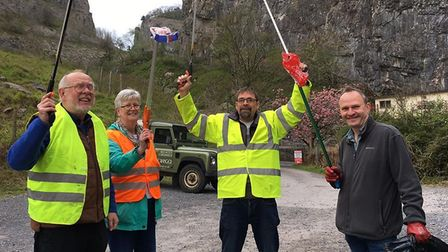 Some of the Plastic-Free Cheddar members did a litter-pick in the village. Picture: Plastic-Free Che