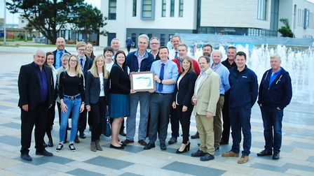 The award being presented to councillors Donald Davies and Mike Bell. Picture: North Somerset Counci