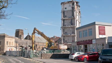 The old Weston Police Station nearly completely demolished. Picture: MARK ATHERTON