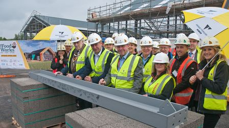 Steel signing ceremony at The Food Works SW build, by North Somerset Council and Wilmott Dixon. P