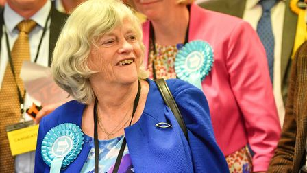 Brexit Party candidate Anne Widdecombe smiles as her party secures seats in the South West region du