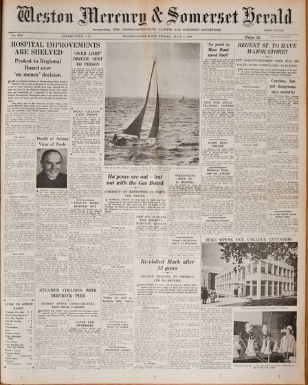 Front Page 6th June 1969 Edition. Picture: WESTON MERCURY