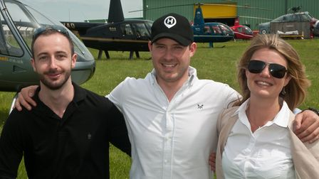 Former volunteers at The Helicopter Museum, Chris Donald, Alex Bishop and Emily Stagg, return by ai