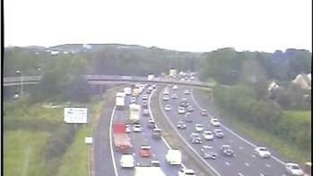 A stranded car has brought the M5 to a stand still.Picture: Highways England