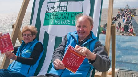 Clevedon Pier 150th birthday celebrations. Volunteers Anita King and Geoff Harrison. Picture: MARK