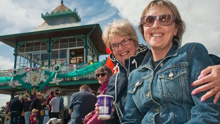 Clevedon Pier 150th birthday celebrations. Visitors braved the windy conditions for a fun afternoon.
