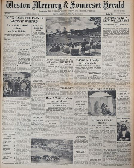Front Page 30th May 1969 Edition. Picture: WESTON MERCURY