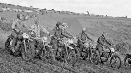 Competitors line up for the start of one of the races in Mendip Vale Motor Cycle and Light Car Club'