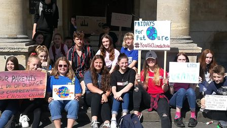 Students form several Weston schools protested at the town hall as part of a world wide strike deman