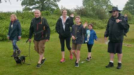 Walkers making their way up towards Crook Peak. Weston Hopicecare Mendip Challenge. Picture: MAR