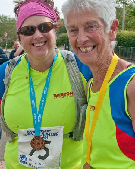 Tracy Dyer and her mum Janet Pinches. Weston Hopicecare Mendip Challenge. Picture: MARK ATHERTON