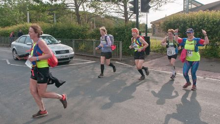 Members of Weston Atheltic Club finishing the 30 mile challenge. Weston Hopicecare Mendip Challenge.