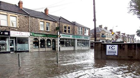 Worle High Street was flooded in last night's storm. Picture: Timmay Curtis