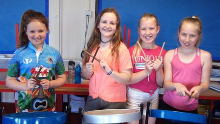 Pupils took part in steel drum workshops. Picture: Amy Townsend