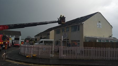 Emergency services on the scene after Ready Steady Go Nursery was hit by lightning last night. Pictu