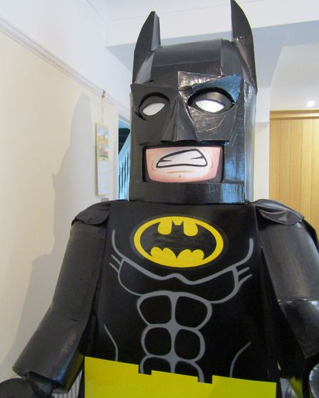 Karen Jenkins' 6 ft 5ins Batman made from card, which took two months to make. Picture: Karen Jenkin