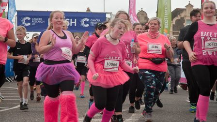 Runners and walkers starting Cancer Research UK's Race for Life on Weston Sea Front. Picture: MA