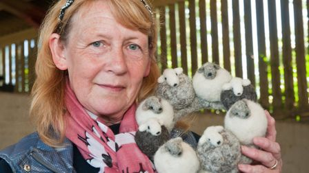 Wendy Thomson with her needle felt work at the Fleece Fair. Picture: MARK ATHERTON