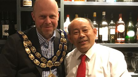 Weston mayor Mark Canniford and Minh Xanh.