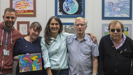 Organisers Georgia Shearman and Frank Butterfield (centre), with exhibiting artists Tanya Fairall (l
