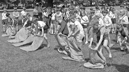 Corpus Christi School sports day. The Start of the junior boys' sack race. Picture: WESTON MER