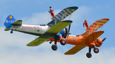 Hospice supporters completed a wing-walk at Rendcomb Airfield with the Aerosuperbatics display team.