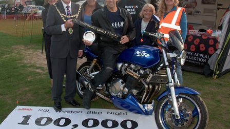 The 100,000th bike arriving at Weston Bike Night ridden by Richard Whiston from Nailsea. North Somer