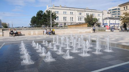 The Royal Hotel behind the fountains in the Italian Gardens in Weston-super-Mare.