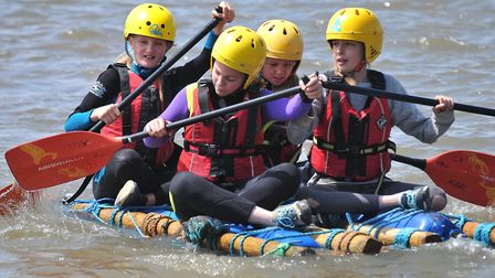 Scouts from the district fought to win the Axe Scout District raft race on Saturday.Picture: Jeremy