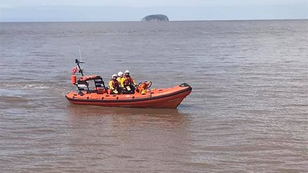 The RNLI rescued them swimmer from a rock.