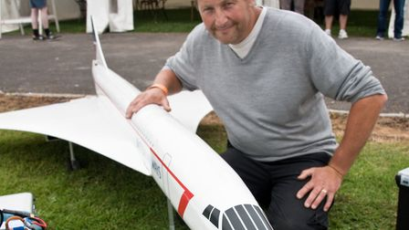 Andy Johnson with his 1/10 scale model Concord powered by a wren jet turbine, Woodspring Model Air S