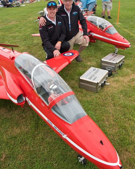 Matt and Steven Bishop with their jet engine model Red Arrows at Woodspring Model Air Show. Pic