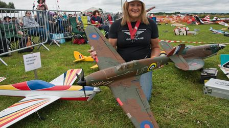Shelly Redworth with some of her models at Woodspring Model Air Show. Picture: MARK ATHERTON