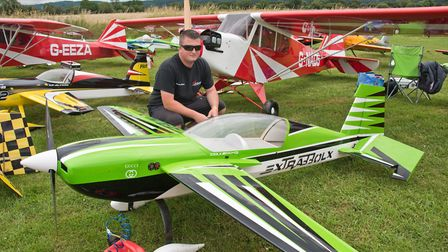 Sonny Milgate with some of his aircraft at Woodspring Model Air Show. Picture: MARK ATHERTON