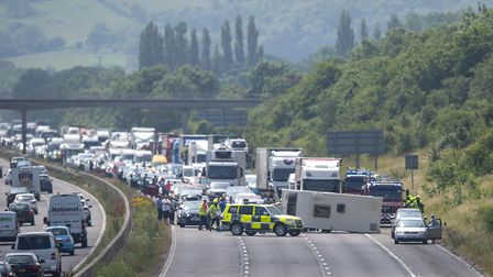 Traffic is at a standstill on M5 Northbound near Weston-super-Mare following a major accident Pict