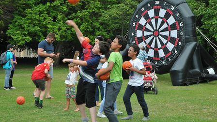 Target basketball with darts footie behindSt Paul's Church fun day in Clarence park, WsM.