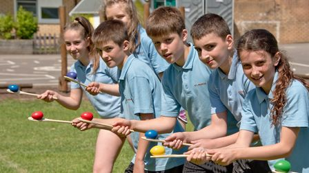 St Francis Primary School year-six pupils practicing for their schools sports day. Picture: MARK