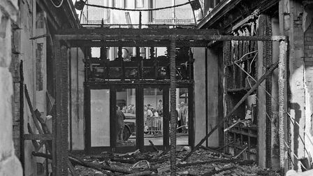 Weston Playhouse destroyed in night fire drama. The charred, debris strewn interior of the theatre.P