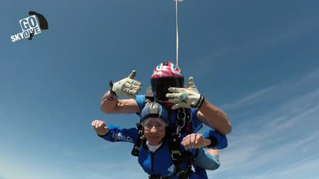 Jean Cooper during her skydive