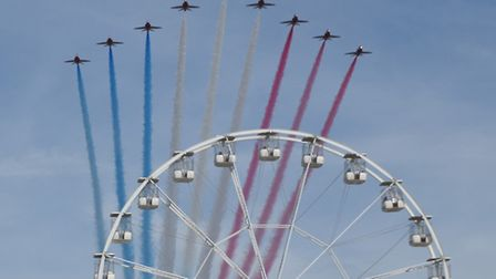 Red Arrows arriving over the Weston Wheel for the air show. Picture: Christopher Field.