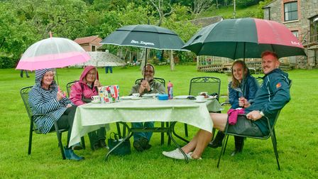 Father's Day cream tea event raising money for Weston Hospicecare. The weather didn't dampen peoples