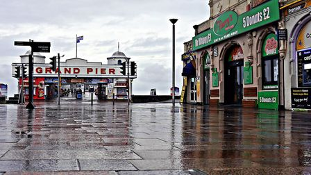 A quiet and wet Weston seafront. Picture: Terry Kelly
